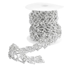 Rose Petal Crystal Rhinestone Jewel Trim, Silver, 1-1/4-Inch, 3-Yard