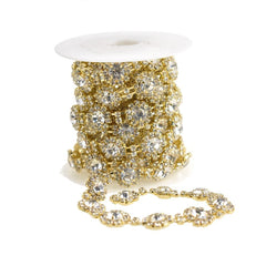 Sunflower Crystal Rhinestone Jewel Trim, Gold, 1/2-Inch, 3-Yard