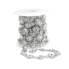 Sunflower Crystal Rhinestone Jewel Trim, Silver, 1/2-Inch, 3-Yard