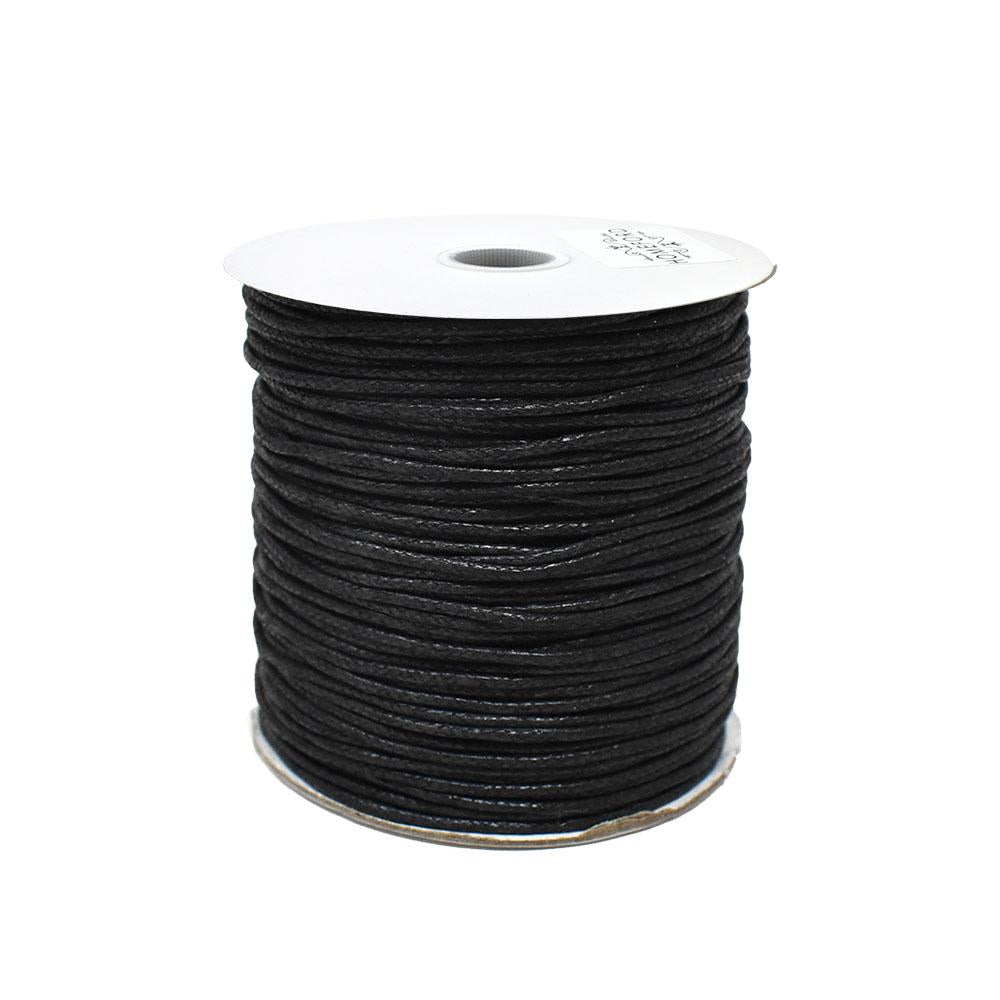 Waxed Cotton Cord, Black, 1/16-Inch, 100-Yard