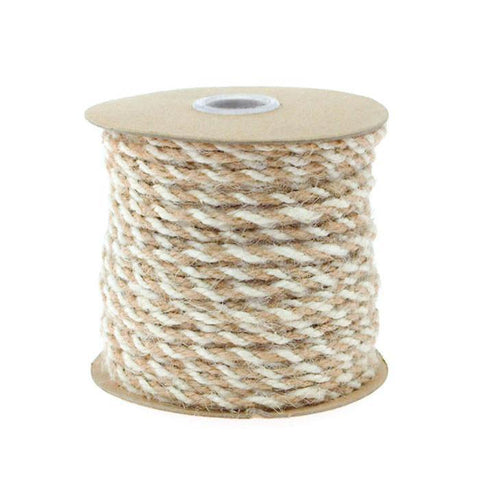 Bi-Colored Jute Twine Cord Rope Ribbon, 5/64-Inch or 2.5 mm, 50-Yard, Off White