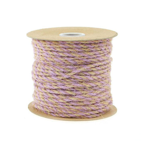 Bi-Colored Jute Twine Cord Rope Ribbon, 5/64-Inch or 2.5 mm, 50-Yard, Lavender