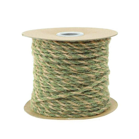 Bi-Colored Jute Twine Cord Rope Ribbon, 5/64-Inch or 2.5 mm, 50-Yard, Moss Green