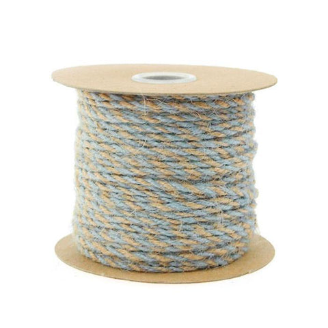 Bi-Colored Jute Twine Cord Rope Ribbon, 5/64-Inch or 2.5 mm, 50-Yard, Light Blue