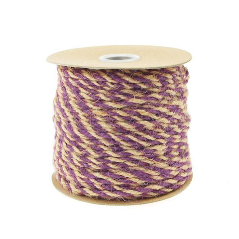 Bi-Colored Jute Twine Cord Rope Ribbon, 5/64-Inch or 2.5 mm, 50-Yard, Purple