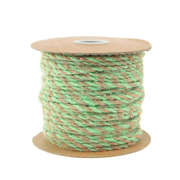 Bi-colored Jute Twine Cord Rope Ribbon, 5/64-Inch, 50 Yards, Mint Green