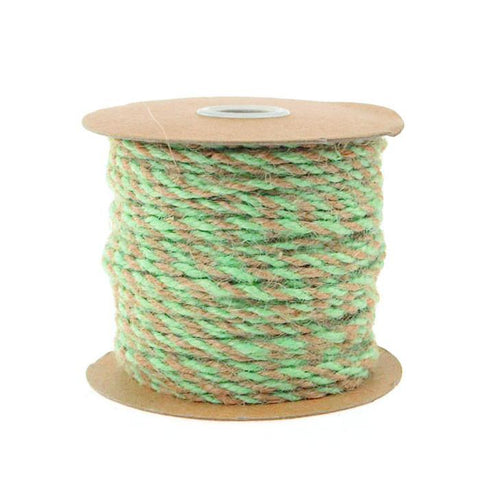 Bi-Colored Jute Twine Cord Rope Ribbon, 5/64-Inch or 2.5 mm, 50-Yard, Mint Green