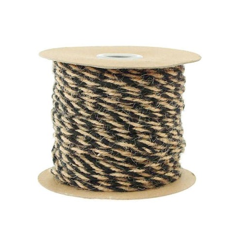 Bi-Colored Jute Twine Cord Rope Ribbon, 5/64-Inch or 2.5 mm, 50-Yard, Black