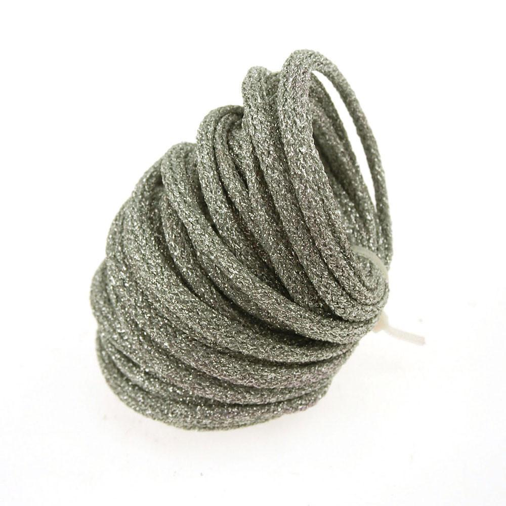 Wired Jute Cord Rope Packaging, 8mm, 9 Yards, Metallic Silver