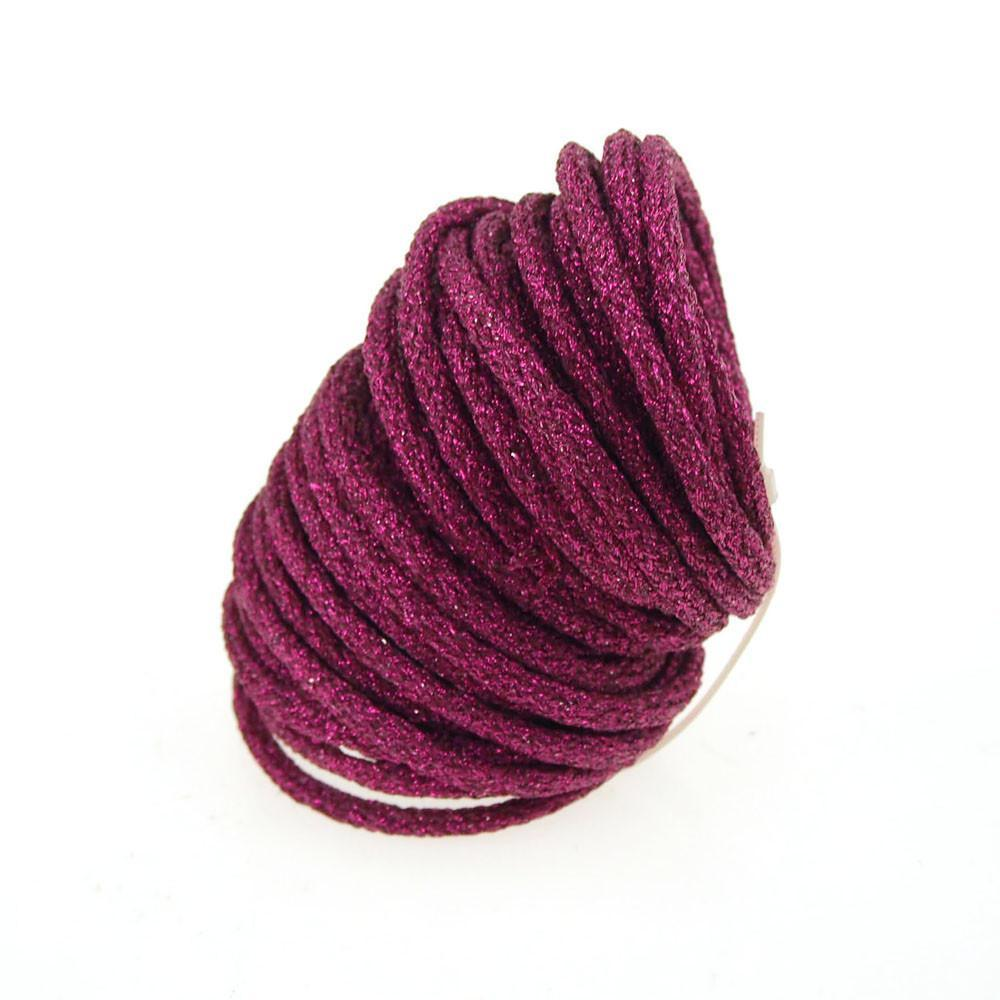 Wired Jute Cord Rope Packaging, 8mm, 9 Yards, Metallic Fuchsia