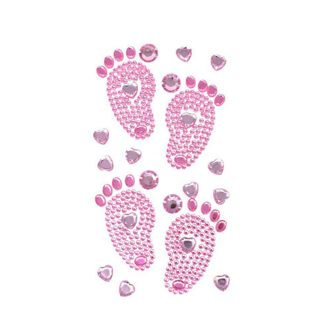 Baby Shower Footprints Rhinestone Stickers, Pink, 2-7/8-Inch, 15-Piece
