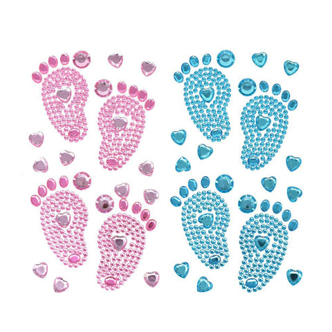 Baby Shower Footprints Rhinestone Stickers, 2-7/8-Inch, 15-Piece