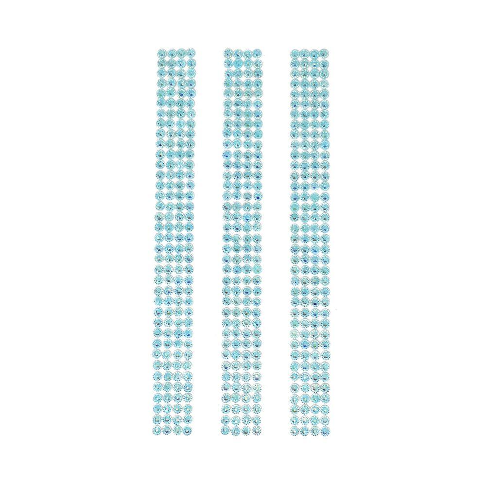Rhinestone Gems Sticker Strips, Aqua, 7-3/4-Inch, 3-Count
