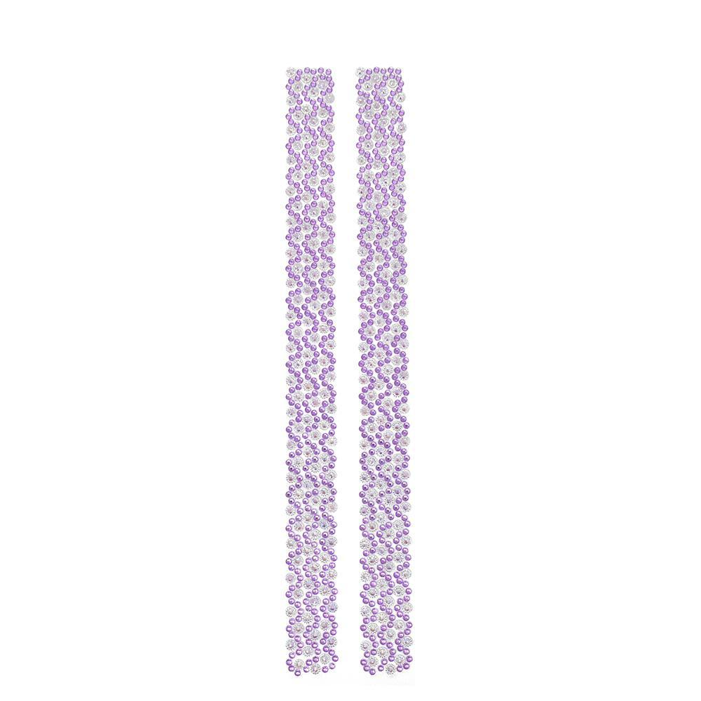 Rhinestone Flowers Sticker Strips, Lavender, 11-3/4-Inch, 2-Count