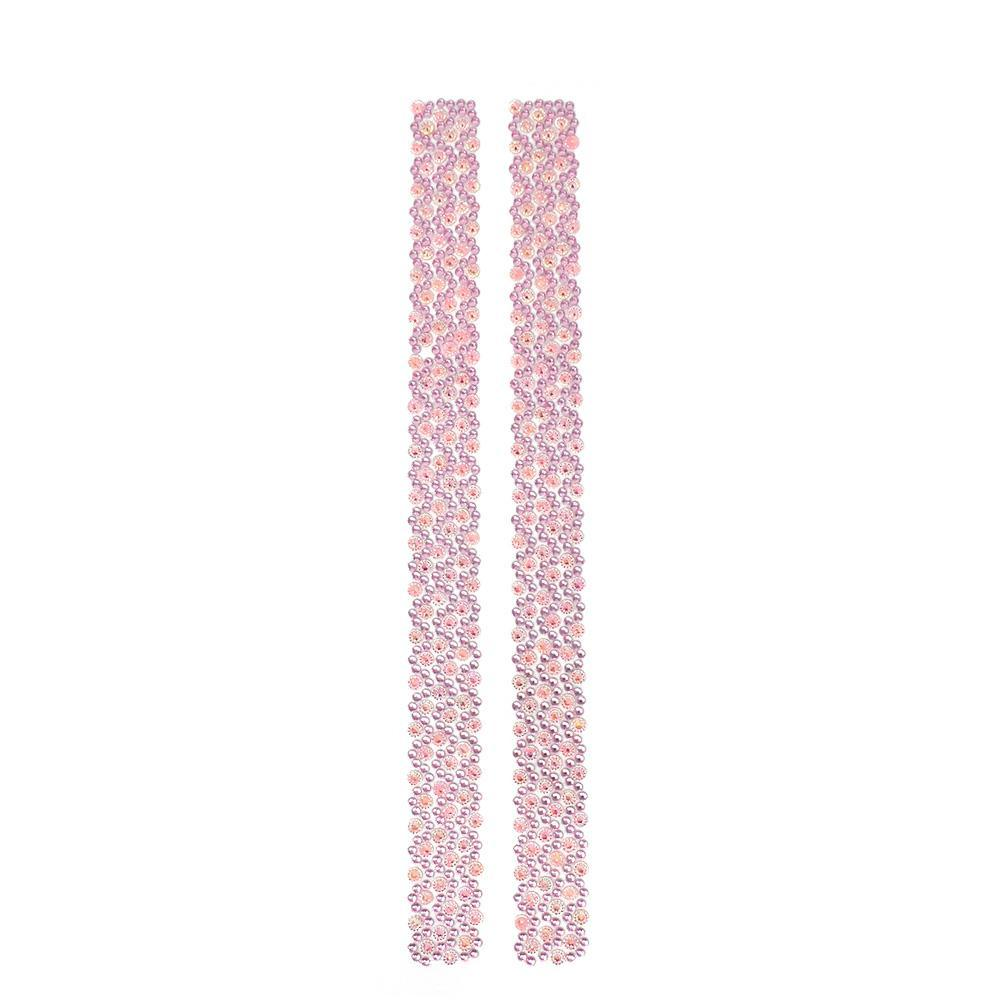Rhinestone Flowers Sticker Strips, Pink, 11-3/4-Inch, 2-Count