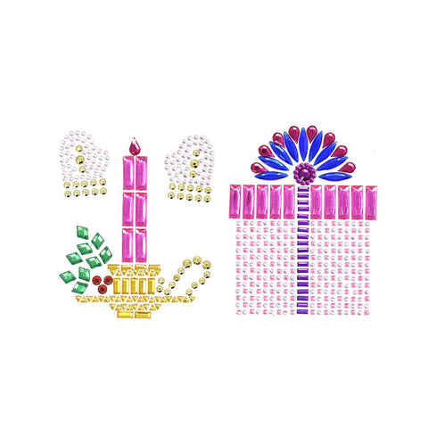 Christmas Presents and Candles Rhinestone Stickers, Assorted, 4-Piece