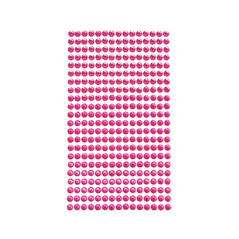 Rhinestone Gems Sticker Strips, Fuchsia, 3/16-Inch, 22-Count