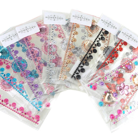 Self-Adhesive Rhinestone Stickers, Circle/Flower/Hearts, 6-count