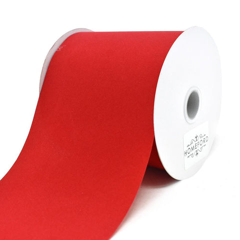 Christmas Velvet Cut Edge Ribbon, Red, 4-Inch, 25-Yard