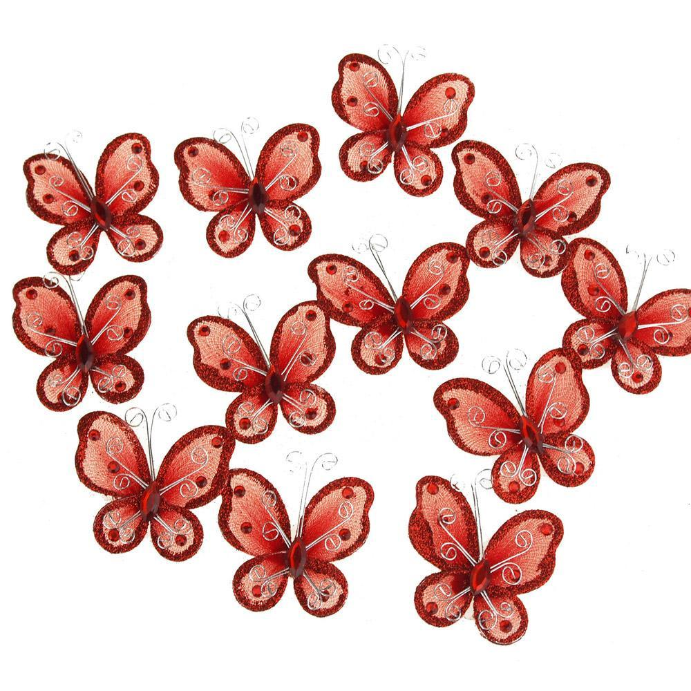 Organza Nylon Glitter Butterflies, 2-inch, 12-Piece, Red