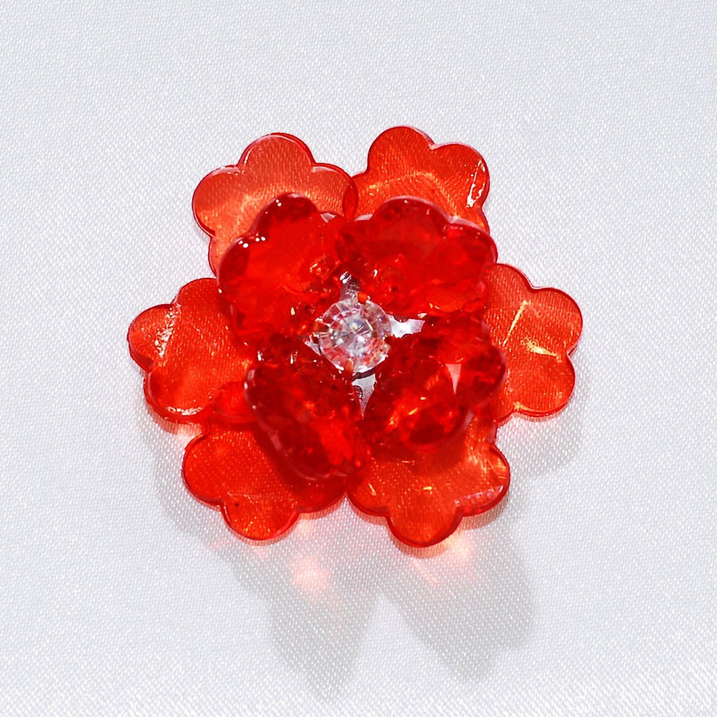 Flower Lotus Crystal, Shredded Edge, 1-3/4-inch, 6-Piece, Red