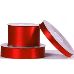 Single-faced Satin Ribbon 1/4, 3/8, 5/8, 7/8, 1-1/2-inch, Christmas Scarlet Red
