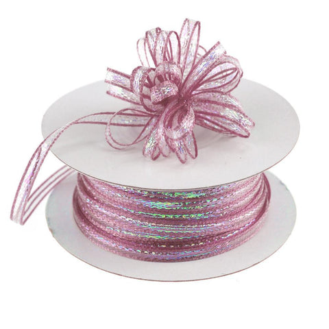 Iridescent Pull Bow Christmas Ribbon, 1/8-Inch, 50 Yards, Rosy Mauve