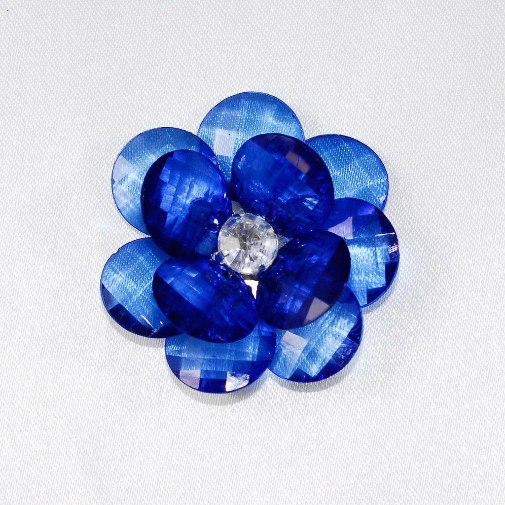 Flower Crystal Lotus Round Edge 1 34 Inch 6 Piece Royal Blue