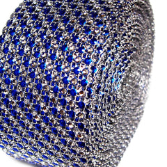 Two Tone Rhinestone Diamond Mesh Wrap Ribbon, 2-1/2-Inch, 10 Yards