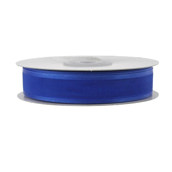 Satin-edge Sheer Organza Ribbon, 7/8-Inch, 25 Yards, Royal Blue