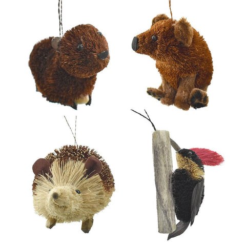 Buri Woodland Animal Ornaments, 4-Piece