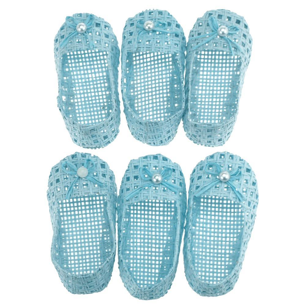 Mini Woven Favor Bags, Baby Shoes, Blue, 3-Inch, 6-Piece
