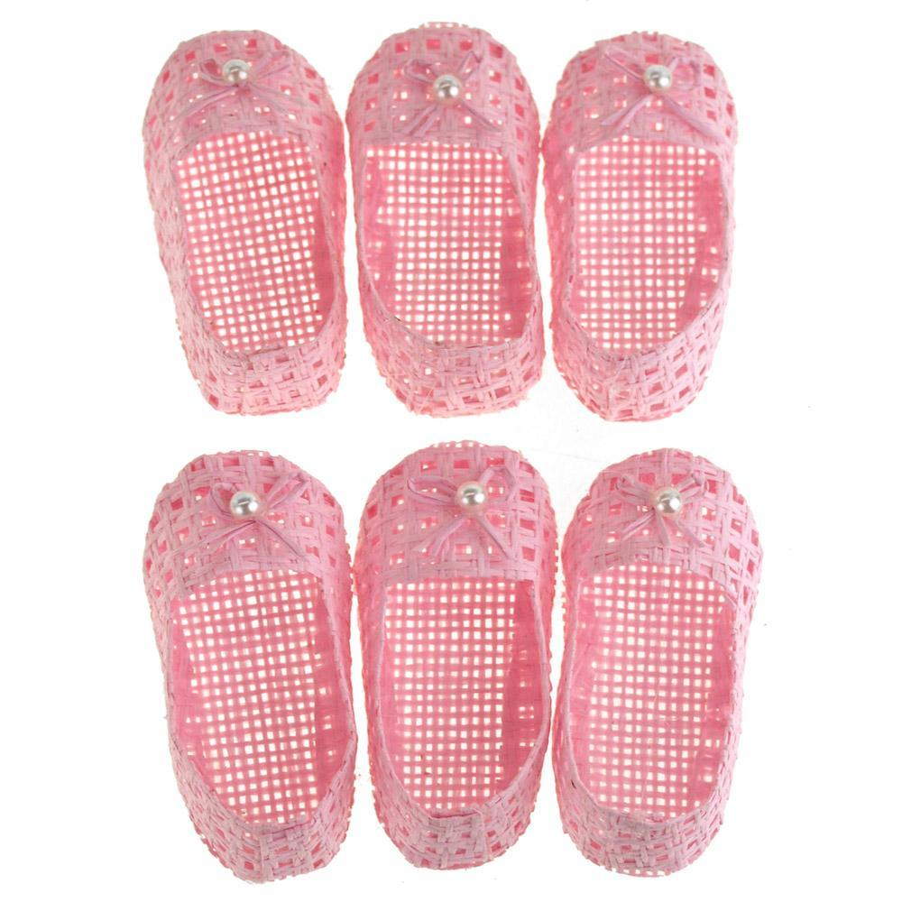 Mini Woven Favor Bags, Baby Shoes, Pink, 3-Inch, 6-Piece