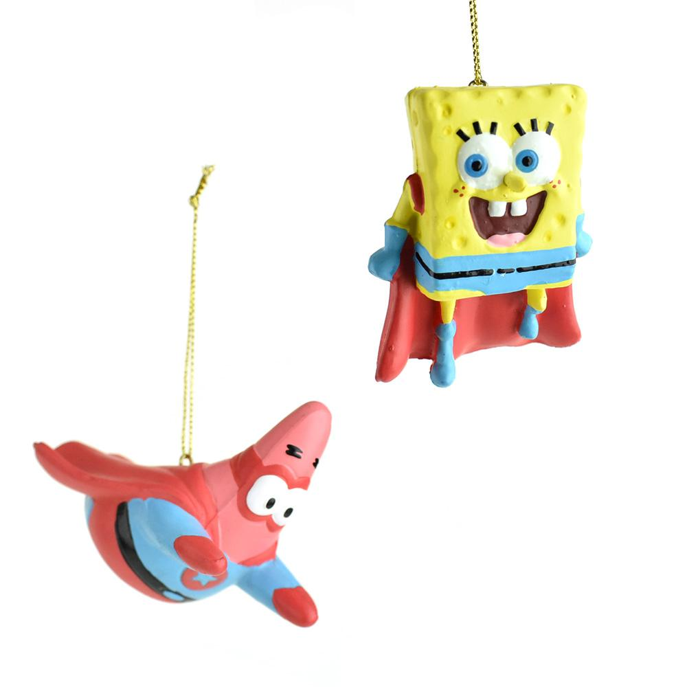 Hero Spongebob and Patrick Christmas Ornaments, 3-Inch, 2-Piece