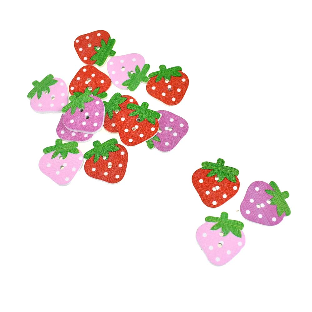 Strawberry Patch Painted Wooden Buttons, 15-Piece