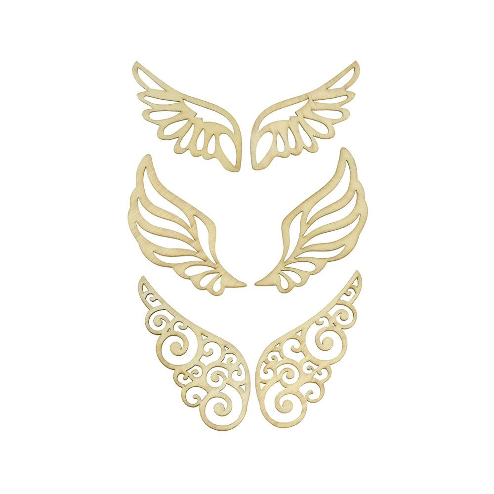 Wings Laser Cut Wooden Stickers,  2-Inch, 6-Piece
