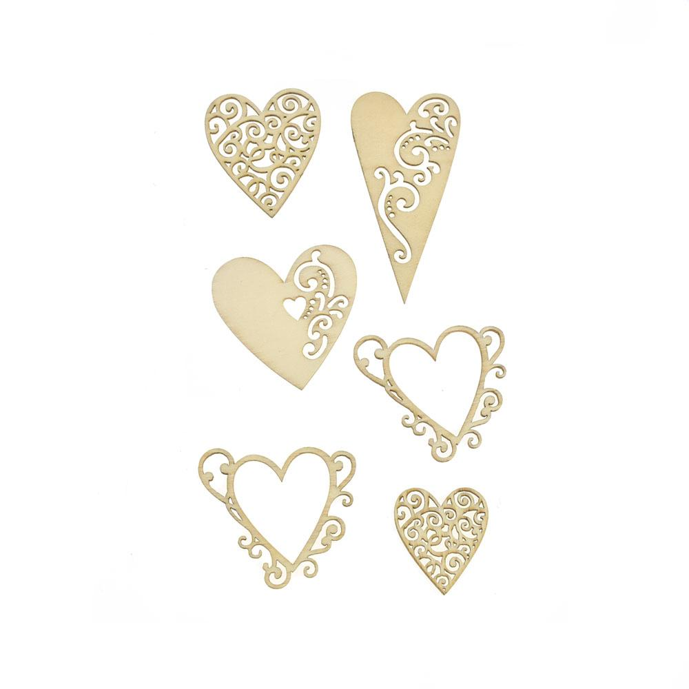 Hearts Laser Cut Wooden Stickers,  2-Inch, 6-Piece