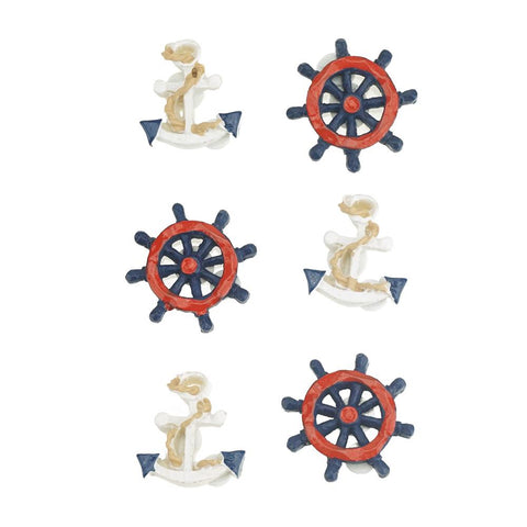 3D Resin Self-Adhesive Nautical Accents, 6-Piece