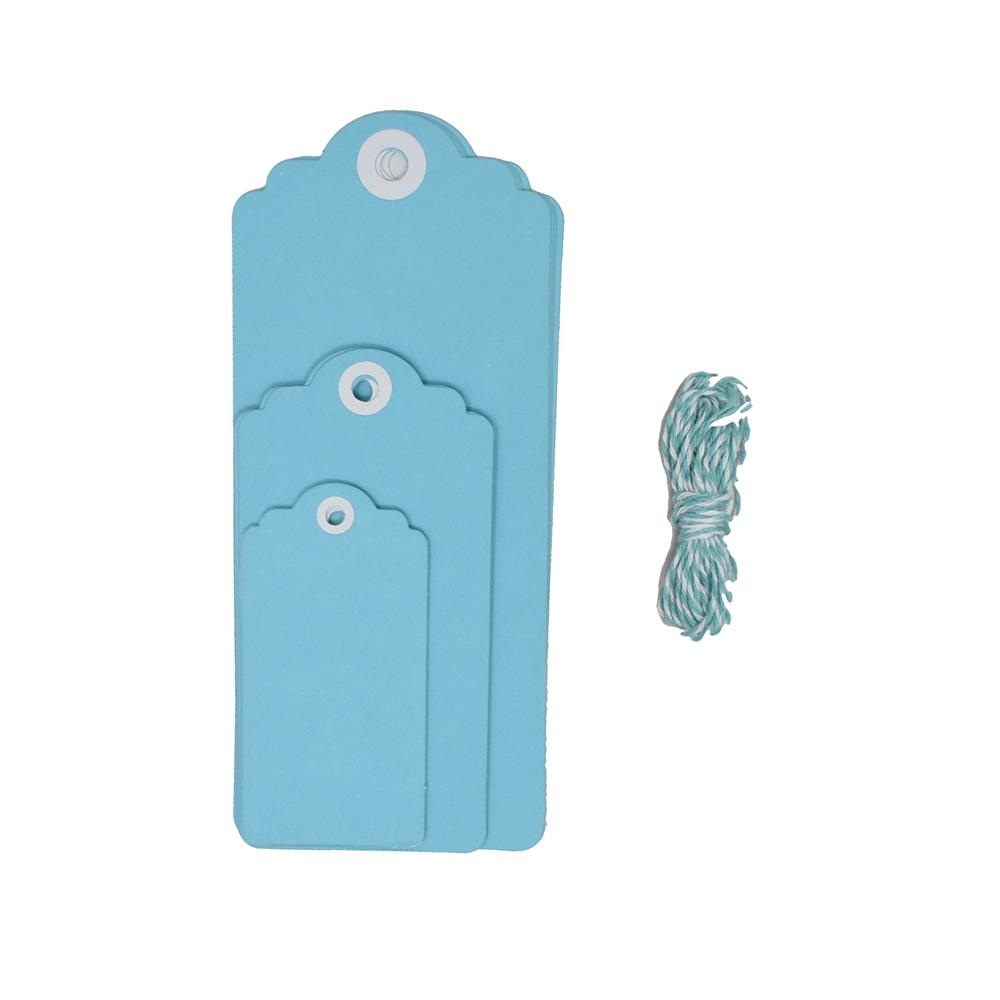 Cardstock Tag Medley Set, 12-Piece, Light Blue
