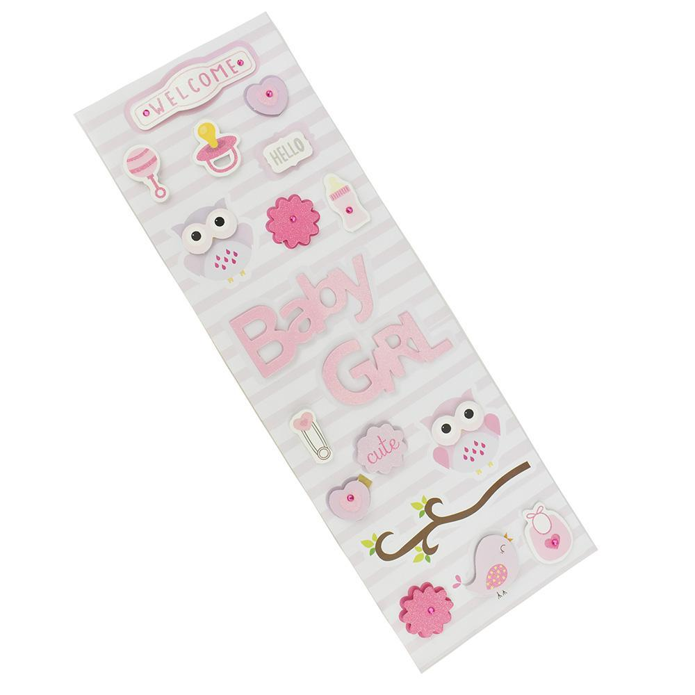 3D Baby Shower Girl Stickers, Pink, Assorted Sizes, 18-Stickers