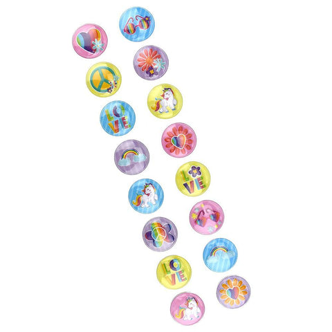 3D Button Rainbow Unicorn Stickers, 1-1/4-Inch, 16-Stickers