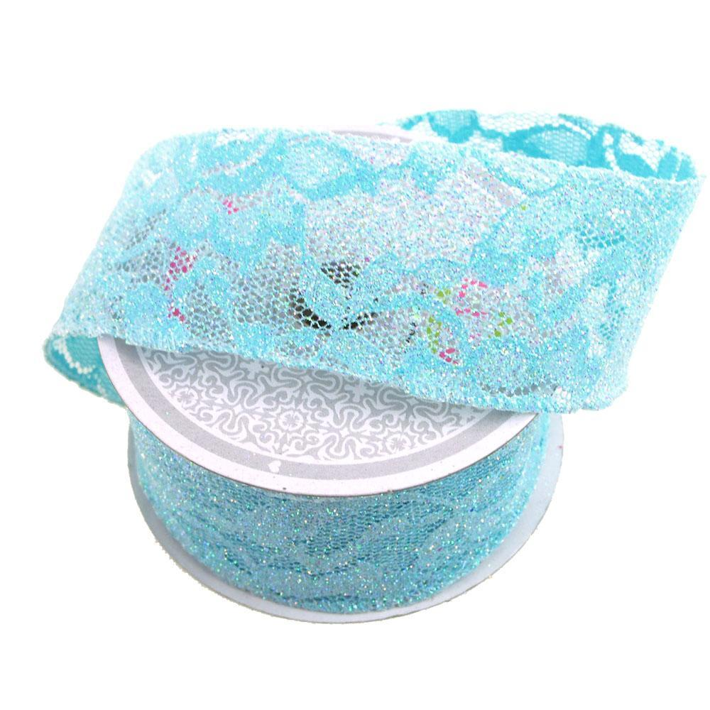 Floral Lace Trim Ribbon with Glitters, 2-Inch, 10 Yards, Blue