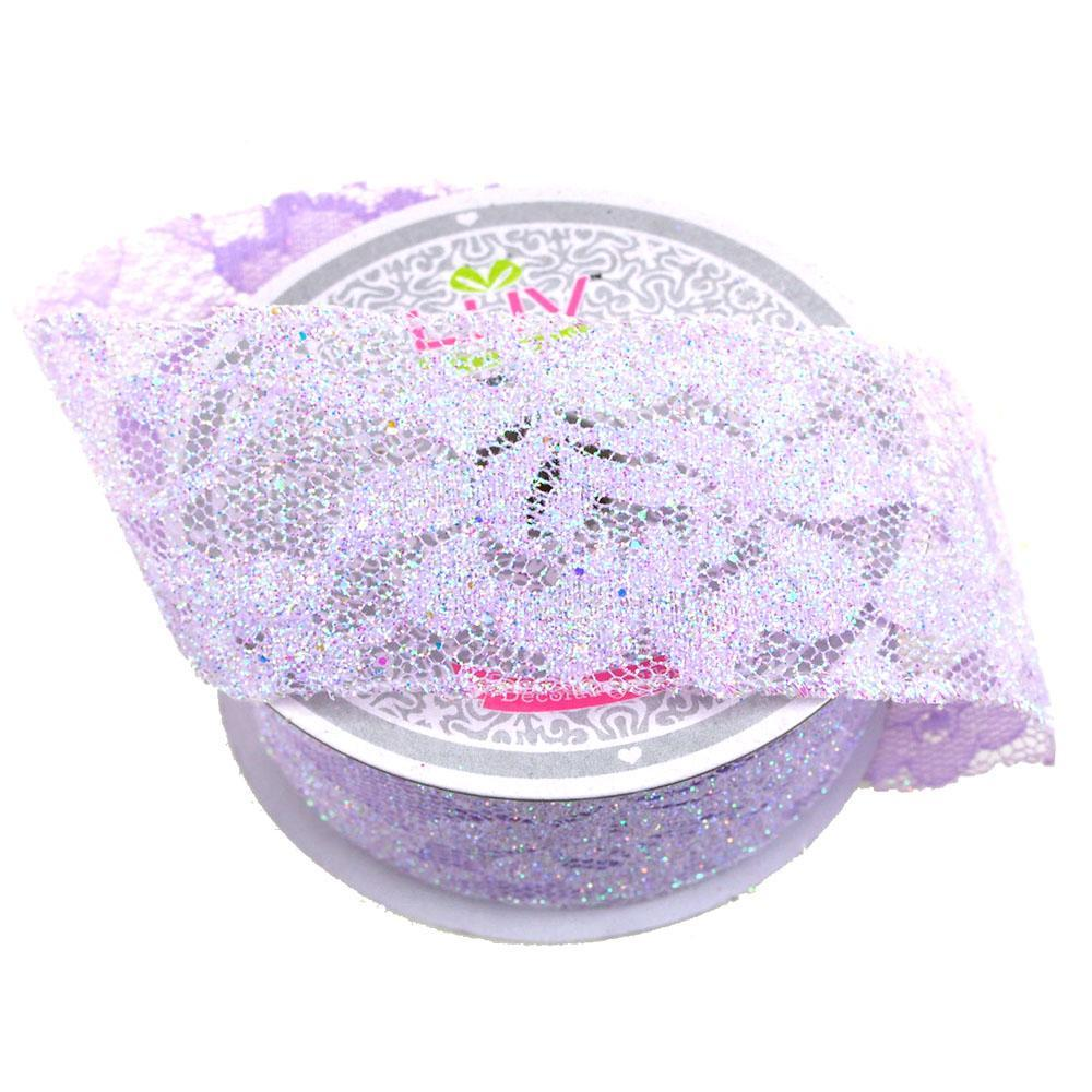 Floral Lace Trim Ribbon with Glitters, 2-Inch, 10 Yards, Lavender
