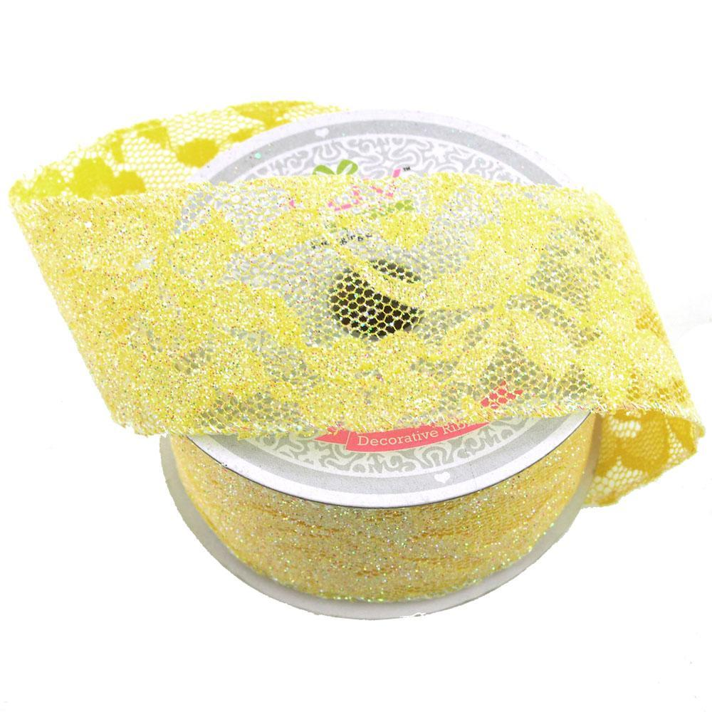 Floral Lace Trim Ribbon with Glitters, 2-Inch, 10 Yards, Canary Yellow