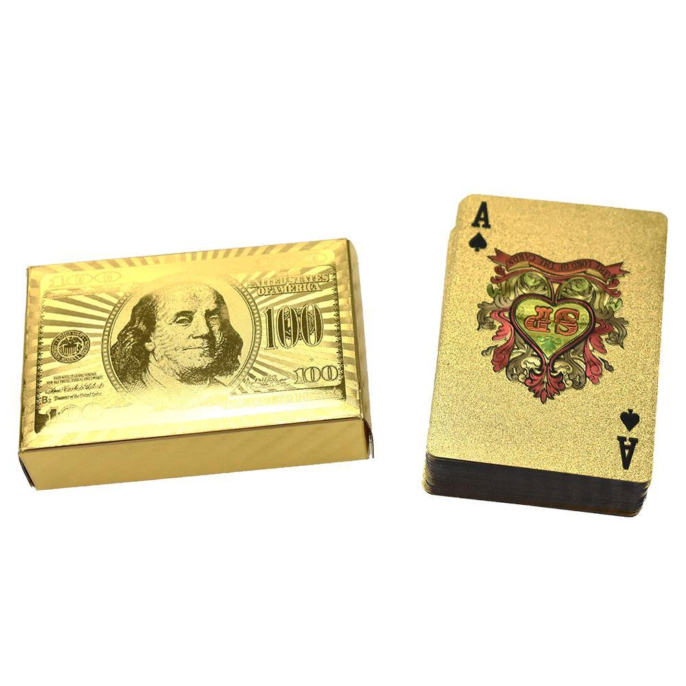 Golden 100 Dollar Bill Themed Playing Cards, 3-1/2-Inch