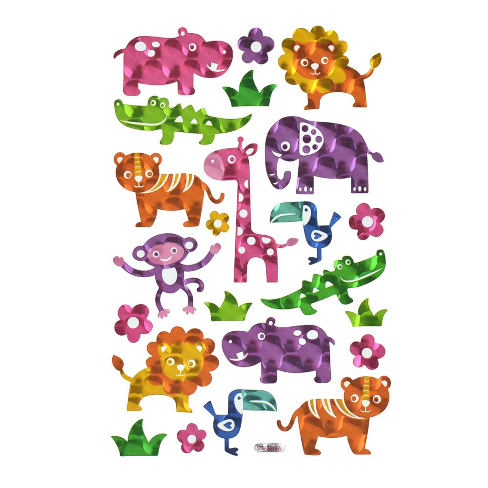 Baby Animals Holographic Foil Stickers, 23-Piece