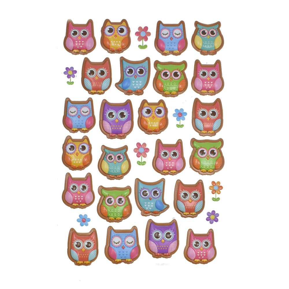Assorted 3D Owl Stickers, 31-Piece