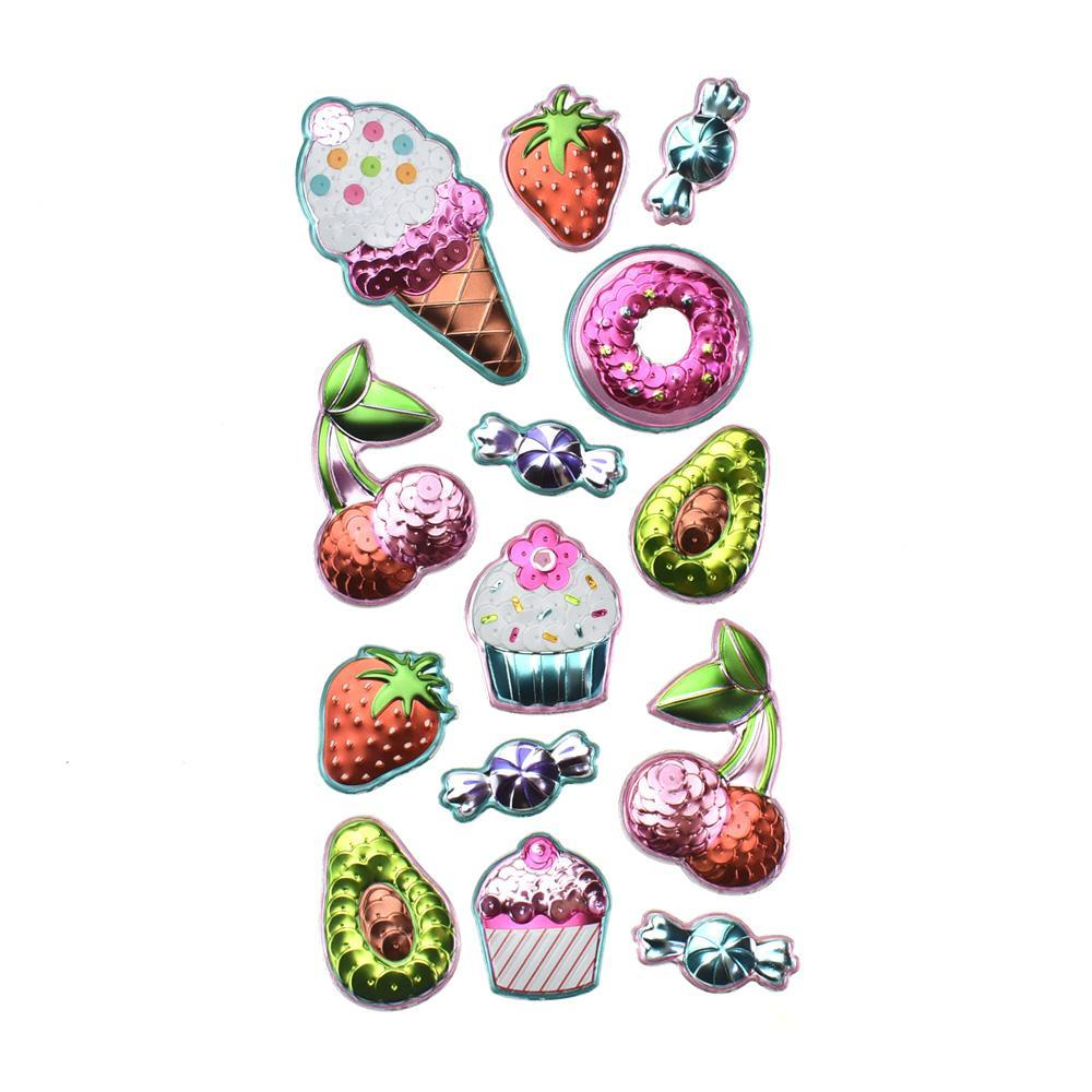 3D Sequin Sweet Treats Puffy Stickers, 14-Piece