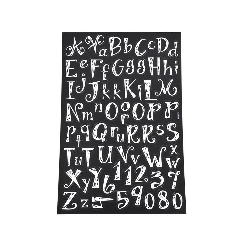 Chalk Effect Alphabet Font Stickers, 73-Piece