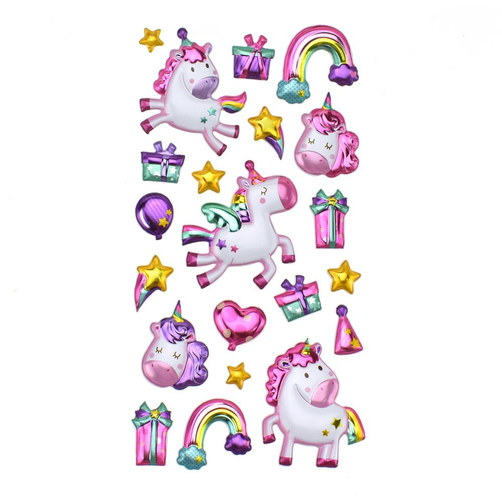 Metallic Balloon Blast Baby Unicorn Paper Craft Stickers, 21-Piece